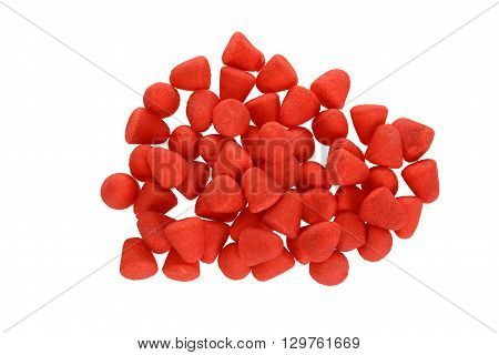 top view sugar coated strawberry candy on white