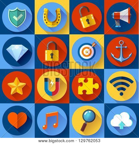 Set of Modern flat web icons on following themes - SEO and development, security and protection, internet and music.