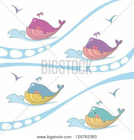 Vector set of colored whales on the waves the logo of the organ