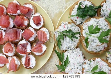Plates With Various Tartlets