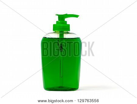 Green liquid soap dispenser plastic bottle isolated on white.