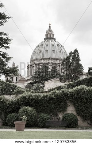 ROME, ITALY - APRIL 8, 2016: St Peter's basilica in Vatican, view from the inner yard. Rome