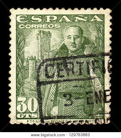 SPAIN - CIRCA 1954: a stamp printed in the Spain shows General Franco, Caudillo of Spain in front of the Castle of La Mota,green, circa 1954