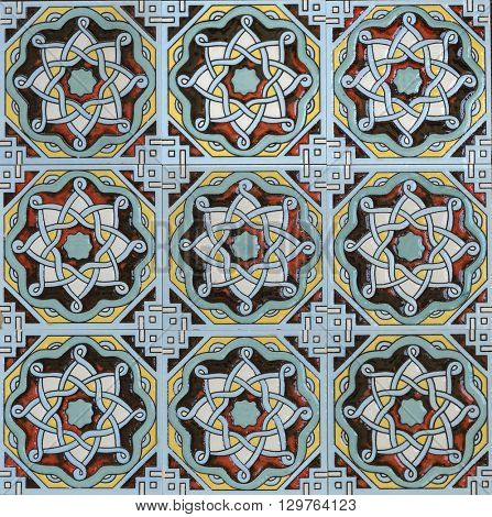Intricate islamic design on the tiles. Tiled pattern.