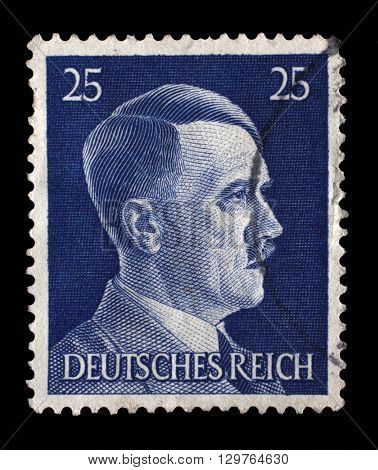 ZAGREB, CROATIA - JUNE 25: A stamp printed in Germany shows image of Adolf Hitler, series, 1941, on June 25, 2014, Zagreb, Croatia