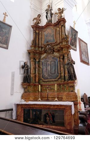 KOTARI, CROATIA - SEPTEMBER 16: Altar of Saint Francis of Assisi in the church of Saint Leonard of Noblac in Kotari, Croatia on September 16, 2015.