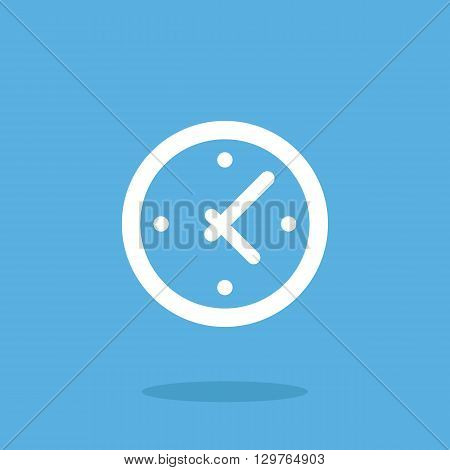 Vector clock icon, time icon. Flat design white clock icon. Vector illustration concept for web banner, web and mobile app, infographics. Stopwatch, clock face icon graphic isolated on blue background