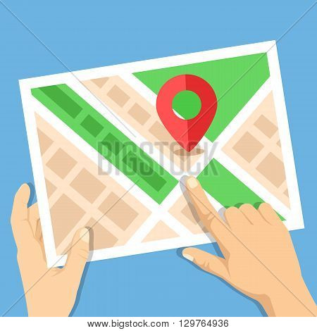 Hands holding city map with map marker flat illustration. Location map, gps navigation, direction, positioning, travel destination concepts. Flat design vector illustration isolated on blue background