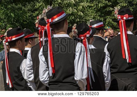 ROMANIA TIMISOARA - JULY 12 2015:German youths from Banat region Romania in traditional specific costumes attended at a international folk dance festivalduring