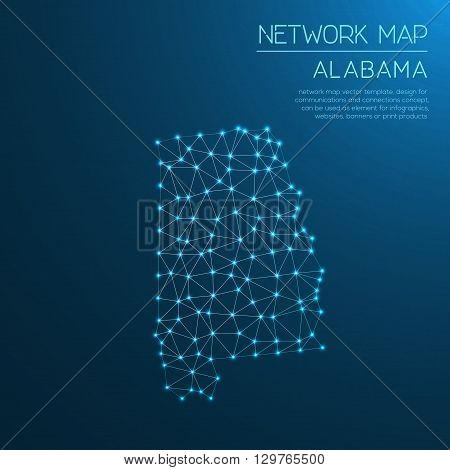 Alabama Network Map. Abstract Polygonal Us State Map Design. Internet Connections Vector Illustratio