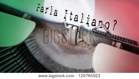 parla italiano against digitally generated italian national flag