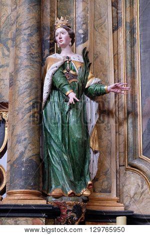 KOTARI, CROATIA - SEPTEMBER 16:Statue of Saint Joanna on the altar in the church of Saint Leonard of Noblac in Kotari, Croatia on September 16, 2015.