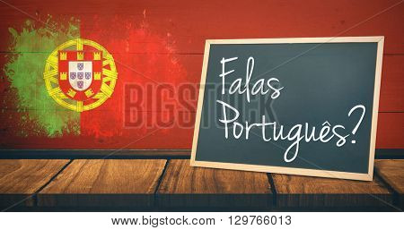 A sentence against portugal flag in grunge effect