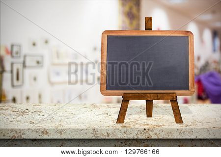 Image of a blackboard against furniture and design store