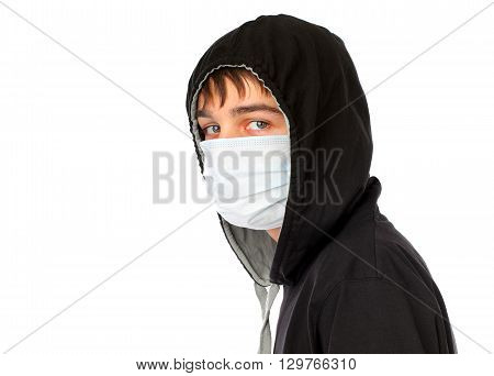 Teenager in the Mask Isolated on the White Background
