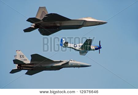 Three Generations Of Us Air Force Fighters Perform A Fly By