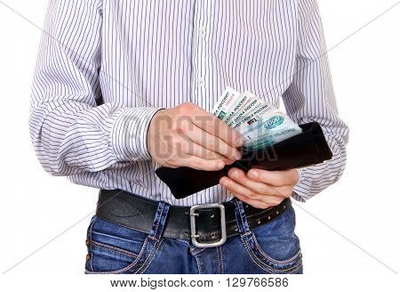 Man take out the Russian Currency from the Wallet Isolated on the White Background