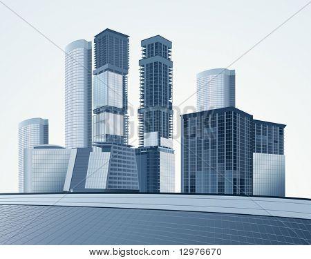 blaue Wolkenkratzer Vektor