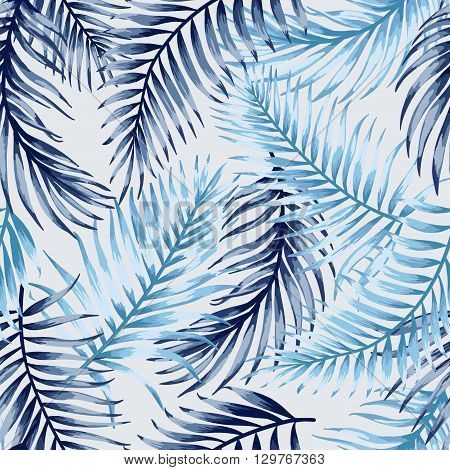 Seamless exotic pattern with tropical leaves on a white background. Vector illustration. Blue leaves.