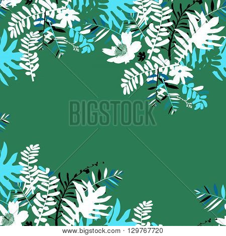 Vector illustration with leafs and foliage inspired by tropical nature and plants like palm tree and ferns in multiple green color. Card template with floral design, exotic flowers, leafs and branches