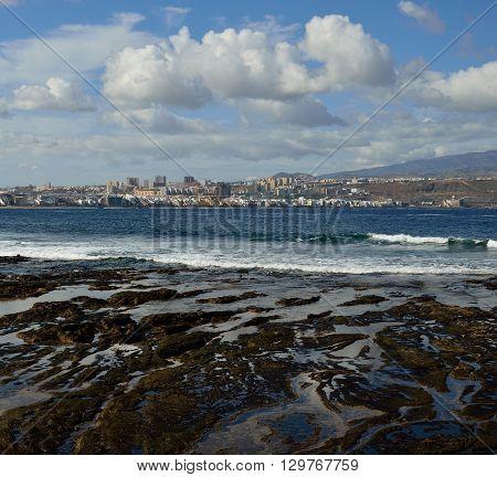 The Confital beach and Las Palmas city, Gran canaria, Canary islands