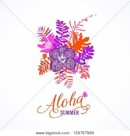 Vector illustration with leafs and foliage inspired by tropical nature and plants like orchids and ferns in bright pink colors. Card template with floral design, exotic flowers, leafs and branches