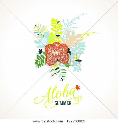 Vector illustration with leafs and foliage inspired by tropical nature and plants like orchids and ferns in multiple bright colors. Card template with floral design, exotic flowers, leafs and branches