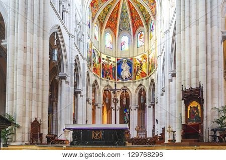 Interior Of The Cathedral Almudena In Madrid. Spain.