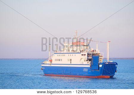 Kerch Strait - April, 9, 2016: the ferryboat in Kerch Strait