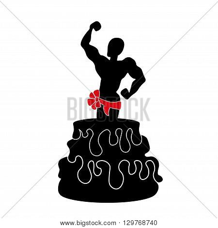 illustration of a stripper Going Out of a Huge Cake.