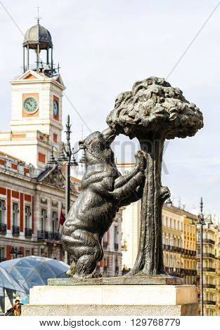 Symbol Of Madrid - Statue Of Bear And Strawberry Tree, Puerta Del Sol, Spain