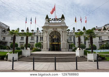AIX-LES-BAINS FRANCE - 30 APRIL 2015: Casino of french resort Aix-Les-Bains one of the important French spa towns that has the largest fresh water marina in France