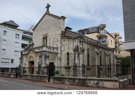 Old church in french resort Aix-Les-Bains one of the important French spa towns