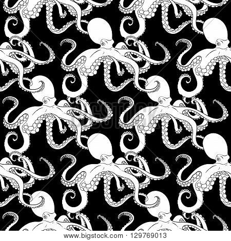Detailed seamless pattern with octopus. Anti stress coloring page. Black white hand drawn doodle oceanic animal. Endless texture can be used for wallpaper, pattern fills, wrapping paper. Vector.