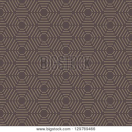 Geometric brown and golden vector pattern with hexagonal dotted elements. Seamless abstract modern pattern