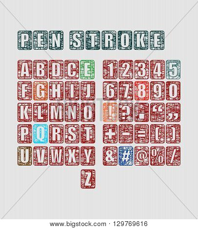 Vector alphabet set. Pen strokes font. Punctuation symbols and numbers in collection