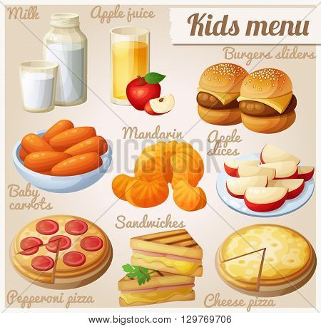 Kids menu. Set of cartoon vector food icons. Milk, apple juice, burger sliders, baby carrots, mandarin oranges, apple slices, pepperoni and cheese pizza, grilled sandwich bites