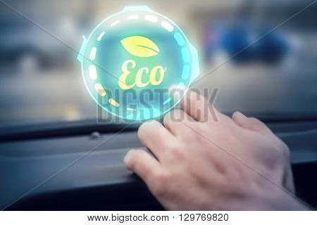 Ecology logo against man using satellite navigation system