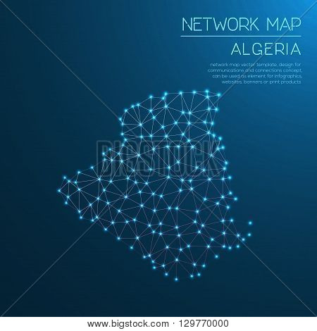 Algeria Network Map. Abstract Polygonal Map Design. Internet Connections Vector Illustration.