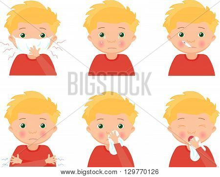 Blond Sick Boy With Flu Mask, Thermometer And Handkerchief