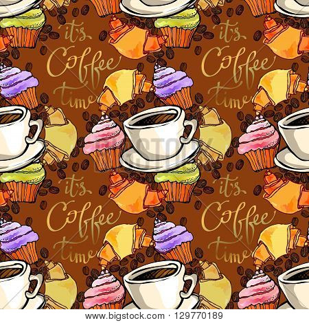 Cupcake, croissant, coffee beans and cup of espresso. Coffee time calligraphy. Seamless pattern background. For bakehouse, restaurant interior design, fabric packaging, wrapping paper, coffee shop.