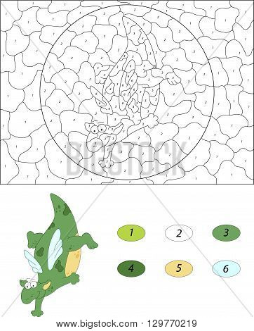 Cartoon Dragon Dances On The Floor. Color By Number Educational Game For Kids