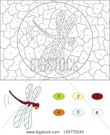Cartoon Red Dragonfly. Color By Number Educational Game For Kids