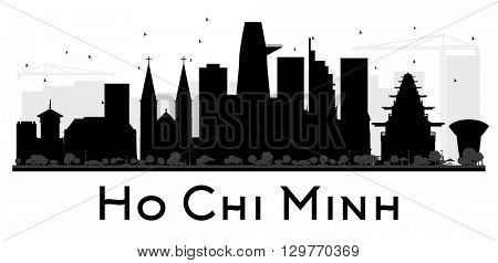 Ho Chi Minh City skyline black and white silhouette. Vector illustration. Simple flat concept for tourism presentation, banner, placard or web site. Business travel concept. Isolated Ho Chi Minh