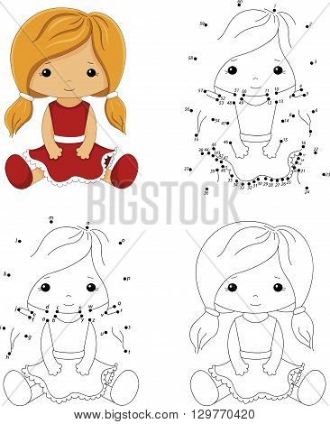 Cartoon Doll In A Red Dress. Coloring Book And Dot To Dot Game For Kids