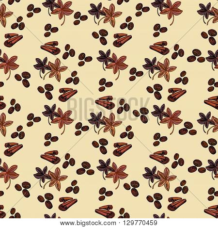 Seamless pattern background. Cynamon banyan spices and coffee beans. For fabric packaging, wrapping paper, menu, coffee shop, cafeteria and restaurant interior design.