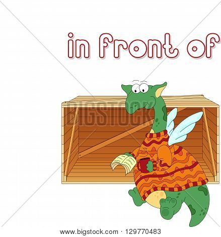 Cartoon Dragon Reads A Book In Front Of The Box. English Grammar In Pictures