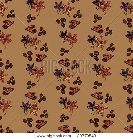 Cynamon banyan spices and coffee beans. Seamless pattern background. For fabric packaging, wrapping paper, menu, coffee shop, cafeteria and restaurant interior design.
