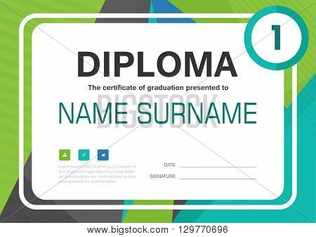 Green Blue A4 Diploma certificate background template layout design