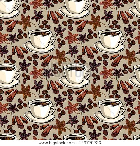 Seamless pattern background. Cup of hot espresso, coffee beans, cinnamon and banyan. For fabric packaging, wrapping paper, menu, coffee shop, cafeteria and restaurant interior design.